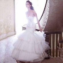White Mermaid Long Wedding Dresses With Elegant Lace Ruffle Tiered Skirt For Bridal Wear цены онлайн