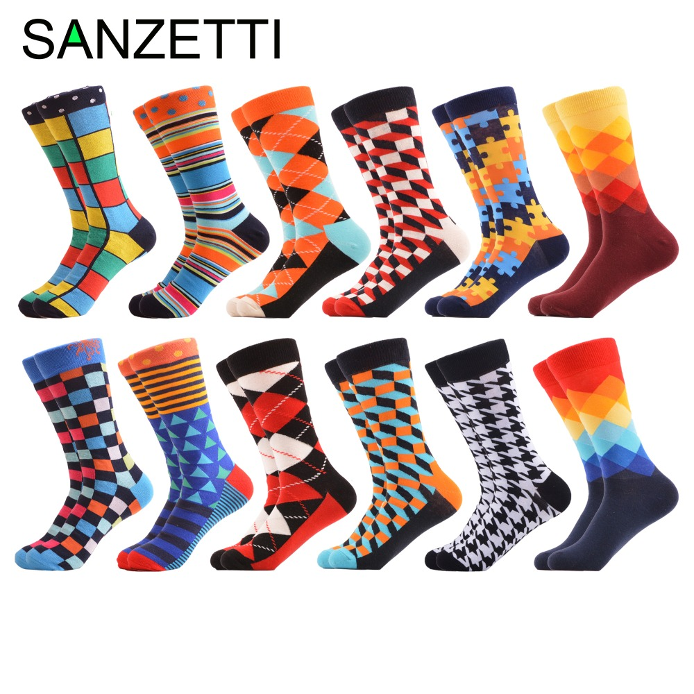 SANZETTI 12 Pairs/Lot Classic Colorful Men's Combed Cotton Socks Novelty Fruit Geometric Animal Pattern Causal Dress Funny Socks