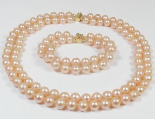 Vente chaude livraison gratuite ***** 2 rangées 8-9mm AAA belle du sud mer rose perle collier bracelet 18