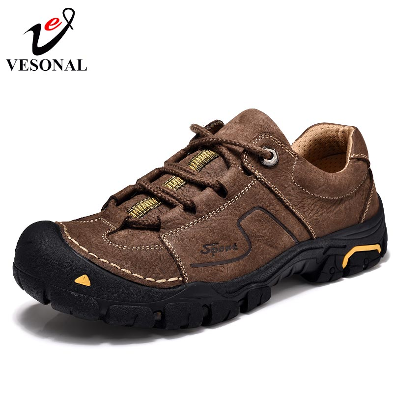 VESONAL Genuine Leather Casual Male Shoes Adult Footwear For Men New Classic Cargo High Comfort Quality