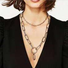 New Fashion Style Simple Punk Rock Metal Chain Necklace TWO Chain Necklace for Men Women Unisex Chain Necklace Gold/ Silver punk style alloy chain embellished necklace for women