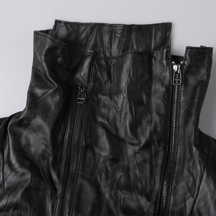 2019 Men cut head layer sheepskin long  genuine leather jacket metrosexual man fashion top quality European style leather jacket