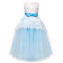High-end elegant girls dress sleeveless silk lace Christmas clothes wedding party dress girls children princess dress