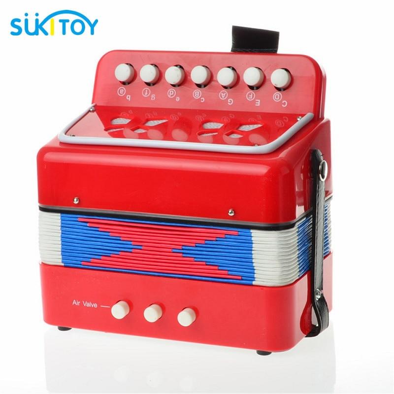 SUKIToy Music Instrument Accordion 7 Keys Button Piano Toys