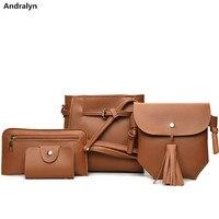 Tassel Bag Set For Women 4 PCS Composite Bag PU Leather Shoulder Handbag Female Casual Totes