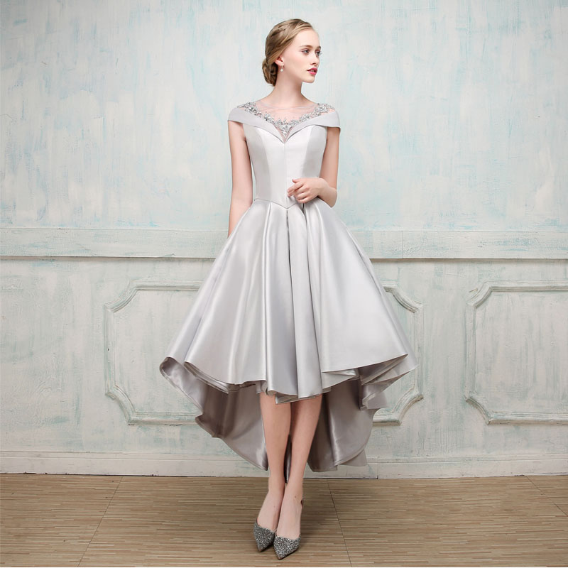 Asymmetrical Short Sleeve Satin Ball Gown Evening Dress