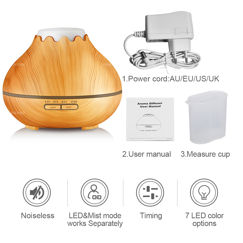 Image 5 - KBAYBO 400ml Air Humidifier Essential Oil Diffuser Aroma LED Lamp Aromatherapy Electric Aroma Diffuser Mist Maker for Home Woodmist makerair humidifieraroma diffuser -