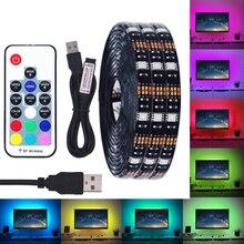 BEILAI DC 5 в USB Светодиодная лента 5050 водонепроницаемый RGB светодиодный светильник гибкий 50 см 1 м 2 м добавить 3 17 ключ пульт дистанционного управления для ТВ фоновый светильник ing