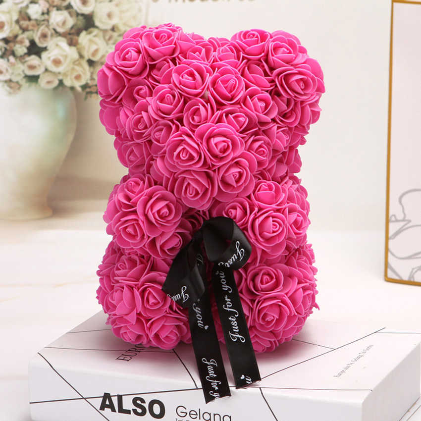 חג האהבה חמה מתנת 25cm אדום רוז טדי דוב עלה פרח מלאכותי קישוט חג המולד מתנות נשים חג האהבה מתנות