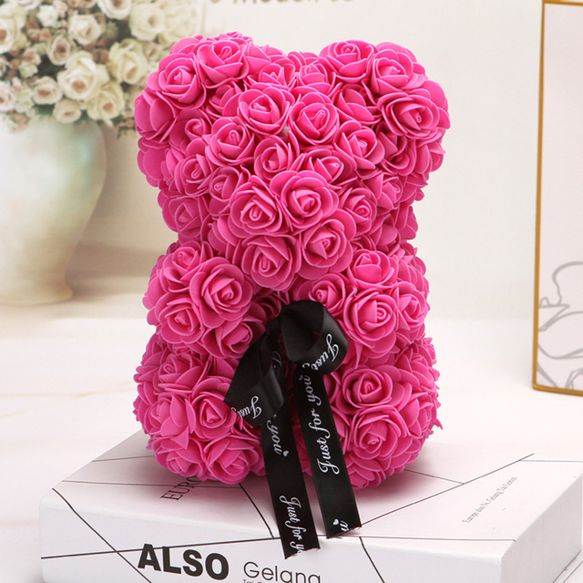 HOT Valentines Day Gift 25cm Red Rose Teddy Bear Rose Flower Artificial Decoration Christmas Gifts Women Valentines Gift 2