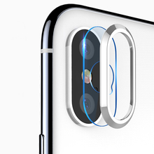 Oppselve Camera Lens Screen Protector For iPhone X 8 7 Plus Transparent Tempered Glass+Metal Rear Protective Ring ix i7