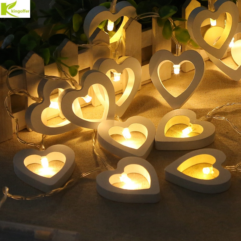 Warm White 10 Wooden Heart Led Battery Fairy String Lights Wedding Home Decor US