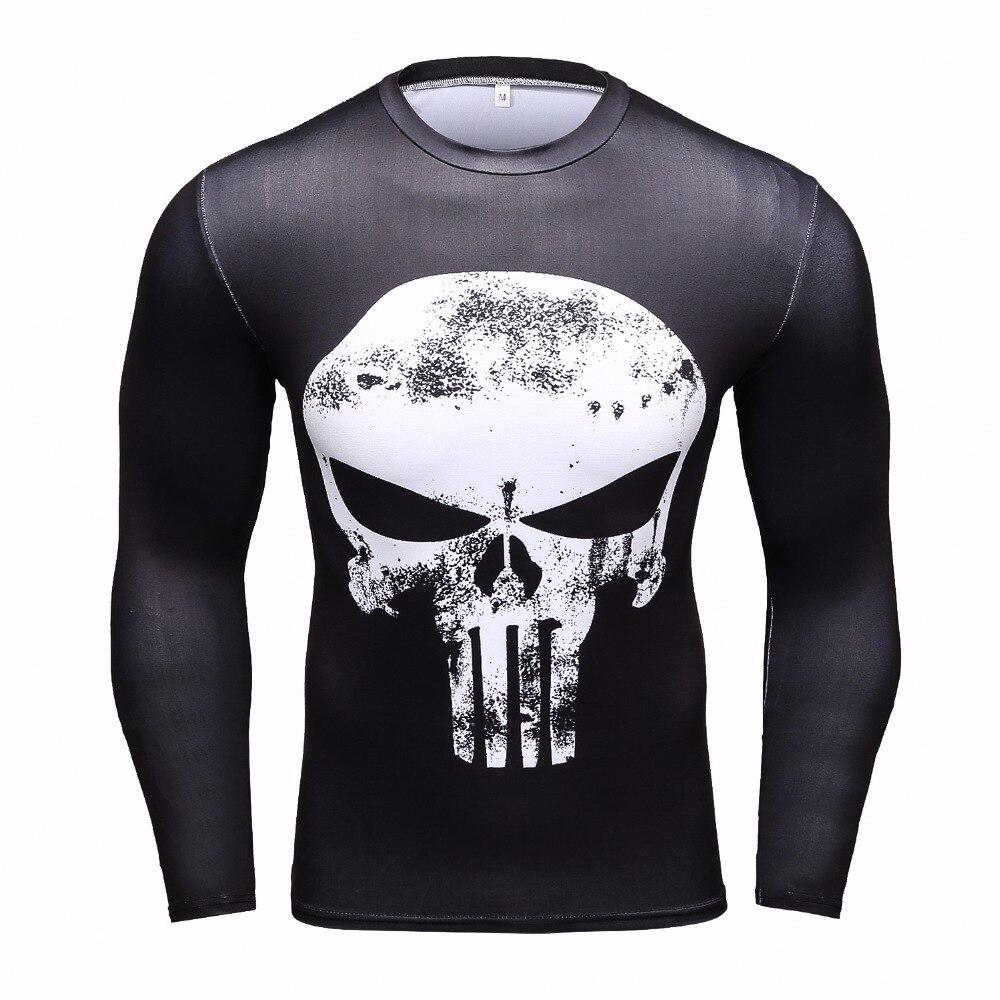 New Fitness 3D Compression T Shirt Men Anime Superhero Punisher Skull/Captain America/Superman Men T-Shirt Crossfit Shirt Tops