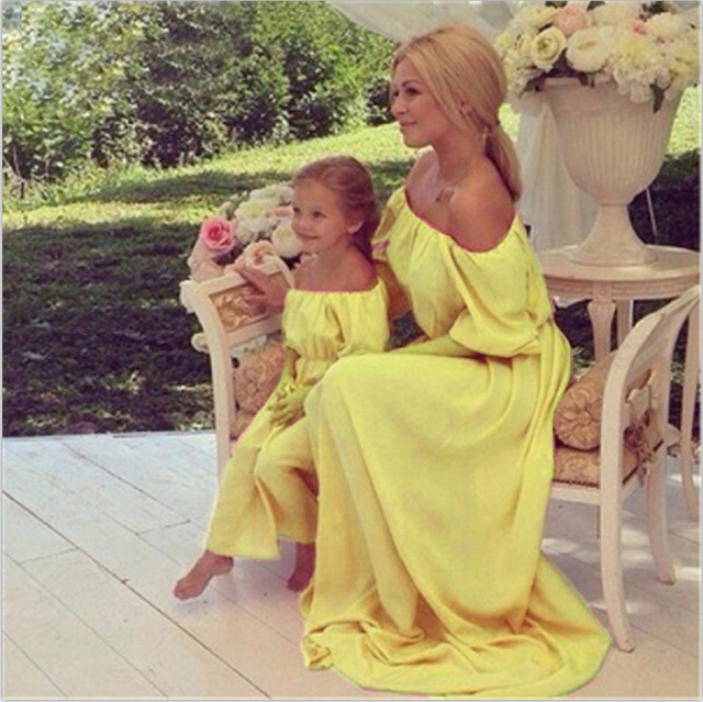 2018 Mommy and Me Family Matching Mother Daughter Dresses Clothes Pure Mom&Daughter Dress Kids Parent Child Outfits Off Shoulder 2