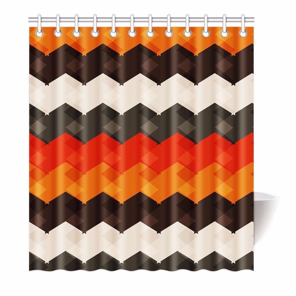 High Quality Arts Shower <font><b>Curtains</b></font> Pattern Chevron White Orange Bathroom Decorative Modern Waterproof Shower <font><b>Curtains</b></font>