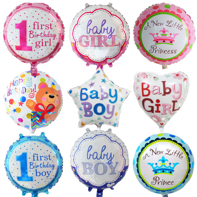 2pcs 18 Inch Baby Boy Girls 1st Birthday Party Foil Balloons Heart Star Cartoon Balloon