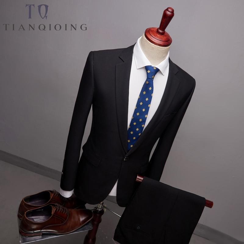 Blazers+pants 2pcs Slim Fit Suits Men Notch Lapel Business Wedding Groom Leisure Tuxedo 2018 Latest Coat Pant Designs S-6XL
