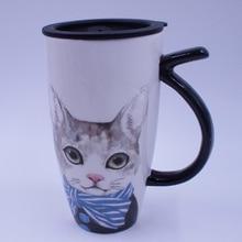 Новый 2017 Качество Прочный Простой Творческий Мультфильм Cat Кружка Искусство Керамическая Чашка Оригинальная Керамика Милый Кофе Кружки Молока
