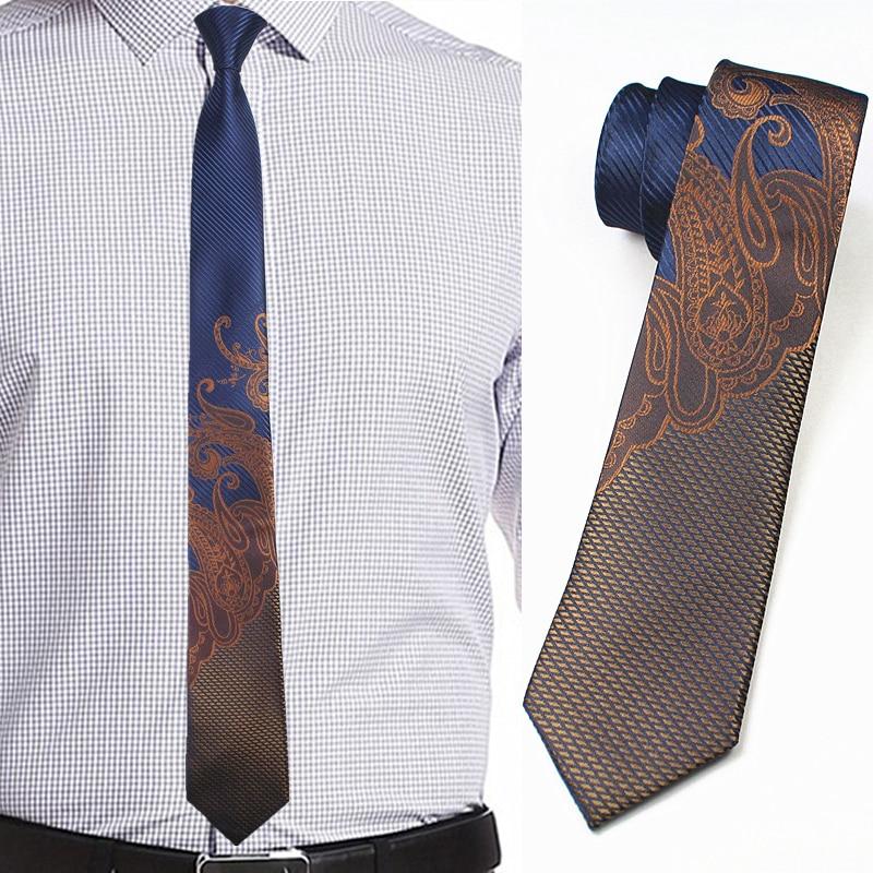 LAMMULIN Ties Brown Half Black with Orange Stripe Necktie Novelty Skinny Tie 6cm
