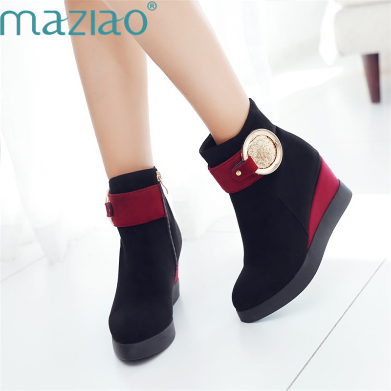 New Women Ankle Boots Platform Shoes Wedge Boots Round Toe Thick Bottom Height Increasing Heel Shoes MAZIAO цена