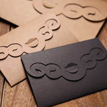 50 pçs/lote Criativo Escavar Engrossar Envelopes de Papel Kraft para Casamento do Natal Aniversário Presente Papel de Escrita Dos Artigos de Papelaria