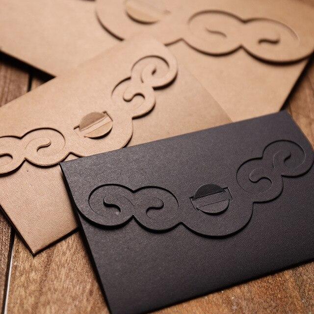 50 pcs/lot créatif évider papier Kraft épaissir enveloppes pour anniversaire noël mariage écriture papier cadeau papeterie