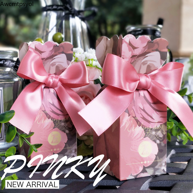 New Wedding Favors Paper Bags Sweet Candy Packaging Boxes For Baby Shower Boy Gilr Birthday Gift Box Party Decoration Supplies