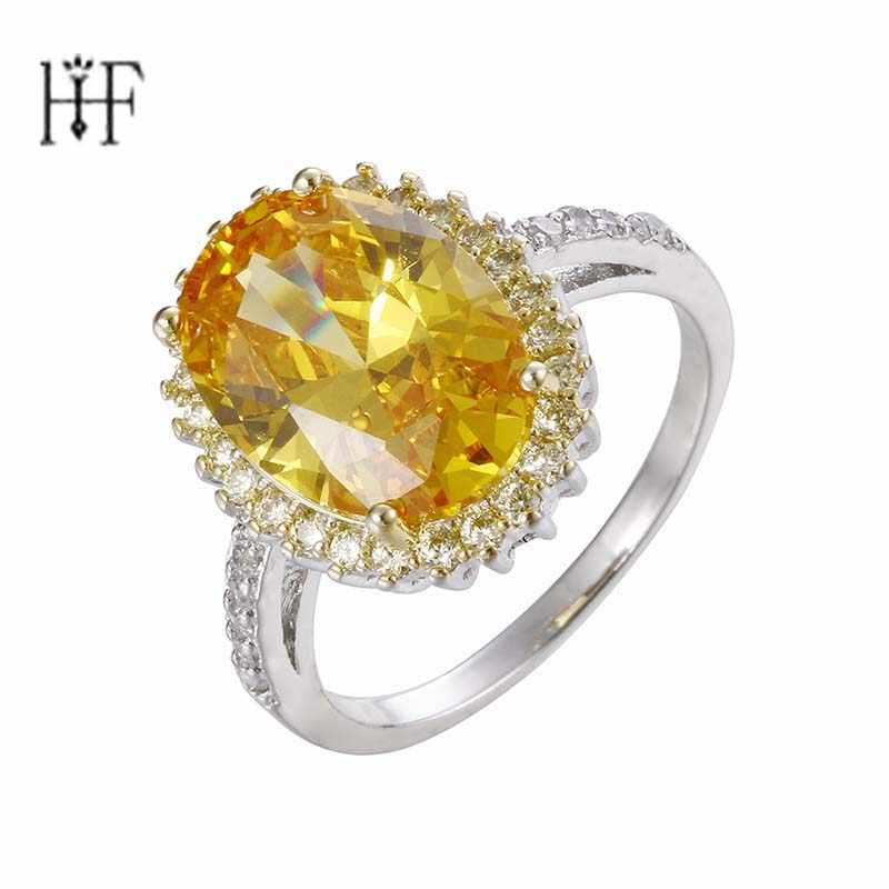 Boho Big Yellow Pink Cubic Zircon Fashion Wedding Ring Vintage Gold Filled Jewelry Engagement Ring Anel Masculino Anelli Donna