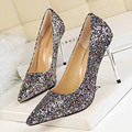Luxurious Glitter Pointed Toe Thin Heels Women Wedding Shoes Sexy High Heels Women Evening Party Shoes New Women Pumps Stilettos