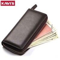KAVIS Genuine Leather Long Wallet Men Coin Purse Male Clutch Walet Portomonee Rfid PORTFOLIO Fashion Money