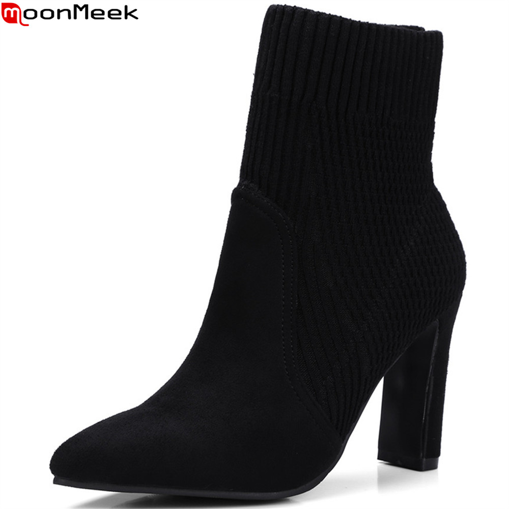 MoonMeek black fahsion women shoes pointed toe flock ladies autumn winter ladies boots thick heel simple ankle boots big size