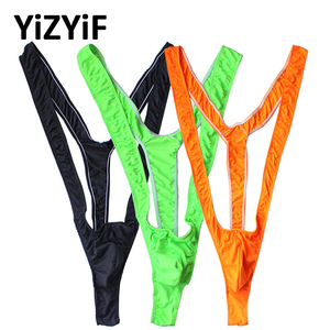 Swimwear Men mankini Thong Men Fluoro Swimsuit Stretch Open Borat Swimsuit Sexy Lingerie Gay Men Underwear Sexy mens mankini(China)