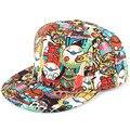 2016 Fashion Hip Hop Cap Graffiti Flat Peaked Adjustable Snap back Hat Women Men Caps