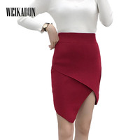 Autumn Winter Women Knitted Skirts 2017 High Waist Sexy Elegant Casual Slim Solid Asymmetrical Skirt Ladies
