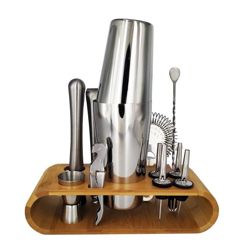 Stainless Steel Cocktail Shaker Bar Set Wine Drinking Mixer Boston Style Shaker Party Bar Tool with Bamboo Stand