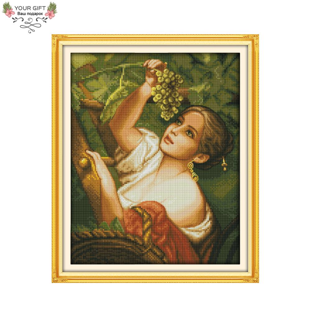 Joy Sunday Free Shipping Counted and Stamped The Plucking Grapes Girl Embroidery Cross Stitch kits for Home Decoration R356