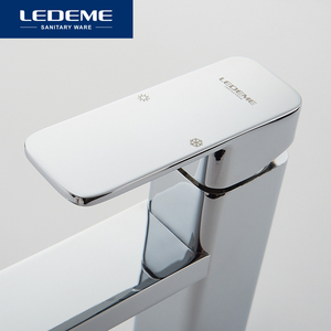 Image 3 - LEDEME robinets de lavabo finition mitigeur, pilier carré en laiton chromé de créateur, eau moderne cascade L1033