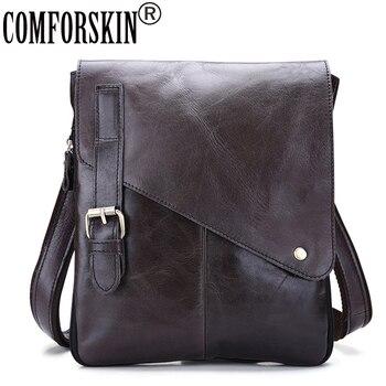 COMFORSKIN Mochila Masculina Guaranteed 100% Genuine Leather Retro Men Messenger Bags Hot Brand Designer Male Cross-body Bags