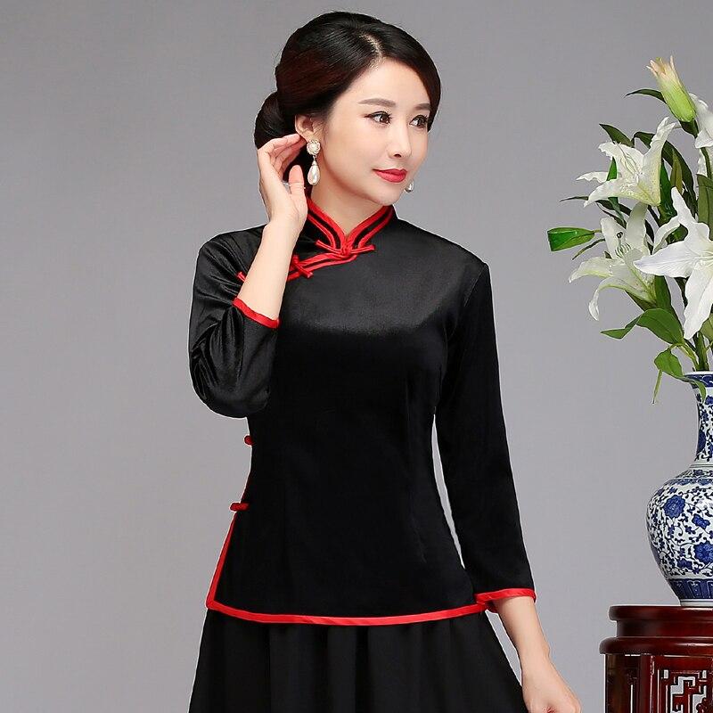 Nouveau noir d'été femmes chemise hauts traditionnel chinois velours Blouse dame Mandarin col Qipao Mujer Camisa taille M L XL XXL XXXL