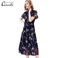 CISULI 100% шелк женщина платье новый тренд 2019 Geogette ткань лето Винтаж длинное
