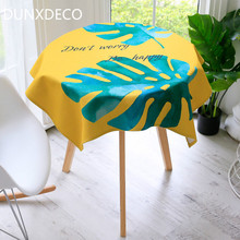 DUNXDECO Tablecloth Round Table Cover Fabric Fashion Yellow Green Big Leave Plant Linen Cotton Warm Home Decoration