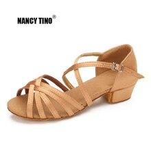 NANCY TINO Niñas Niños / Niños / Salón de adultos Tango Zapatos profesionales de baile latino Zapatos de tacón bajo Zapatos de baile Sandalias