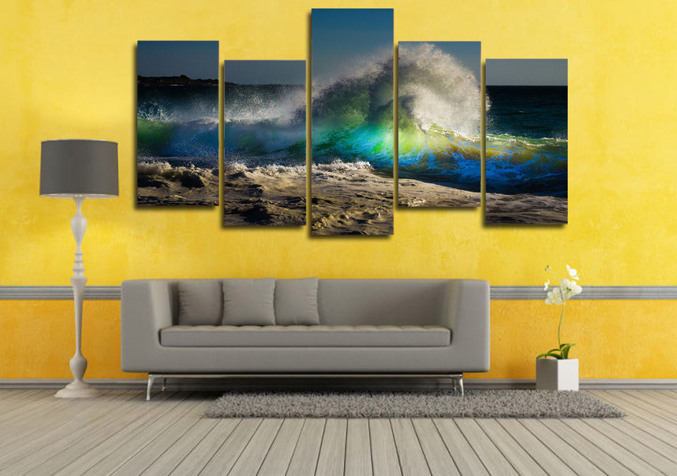 5 Pcs/Set Framed HD Printed Big Waves Beach Landscape Picture Wall ...