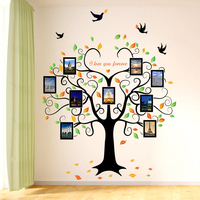 2016 New Large160 204Cm DIY Heart Shaped Photo Tree PVC Wall Sticker For Kid Room Decals