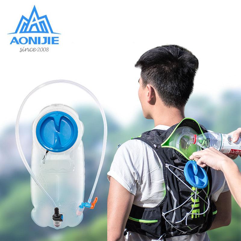 AONIJIE TPU Water Bag Outdoor Sport Camping Hydration Bladder Riding Running Racing Foldable Camel Bag 1.5L/2L Big Opening aonijie outdoor water bag 1 5l 2l 3l for camping hiking climbing cycling running foldable peva sport hydration bladder