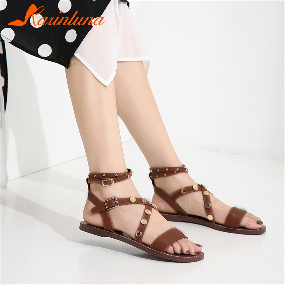 KARINLUNA New Fashion womens Genuine Leather Rivet Rome Shoes Woman Casual Comfortable Summer Sandals 2019 Female ShoesKARINLUNA New Fashion womens Genuine Leather Rivet Rome Shoes Woman Casual Comfortable Summer Sandals 2019 Female Shoes