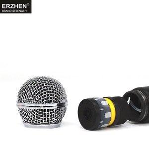 Image 5 - El mikrofonu kablosuz sistemler UHF4 kanal yaka kondenser kulaklık karaoke hoparlörü stüdyosu satılık SM58 için mic şarkıcı