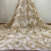 Luxury Lace Fabric Gold Shiny Lace African French Glue Sequin Tulle Dress Lace 2019 Net Lace Fabric with Feathers