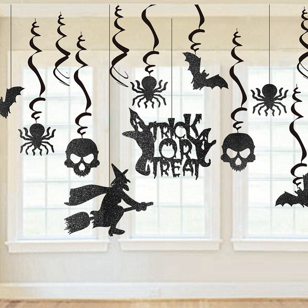 13pcs black glitter halloween party swirls witches bats gosts skeletons spiders swirl ceiling hanging decoration spirals - Halloween Ceiling Decorations