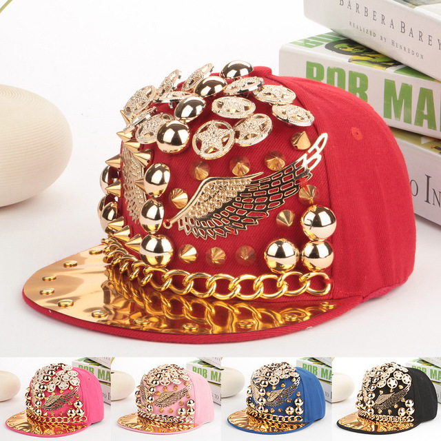 879688a3f09 new snapback hats new design gold spiked rivets wings shaped hip hop men snapback  caps brand